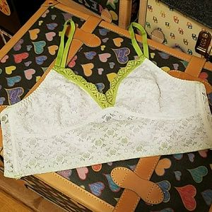 White lace and lime color bralette